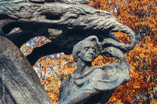 Poster Historisch mon. Polish composer and virtuoso pianist Frederic Chopin monument in Royal Baths Park in Warsaw, capital of Poland