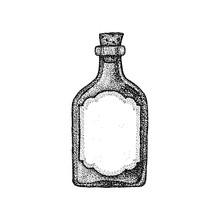 Dotwork Vintage Glass Bottle