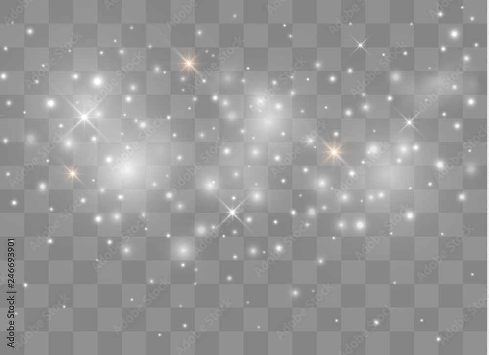 Fototapety, obrazy: Sparks glitter special light effect. Vector sparkles on transparent background. Christmas abstract pattern. Sparkling magic dust particles.