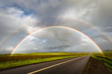 Double Rainbow Over A Rural Road