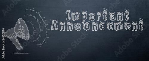 Obraz important announcement slogan and speaker symbol  with chalk on chalkboard - fototapety do salonu