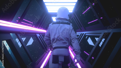 Astronaut going through the tunnel to another compartment of the space gateway 3d illustration