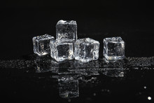 Pile Of Crystal Clear Ice Cube...