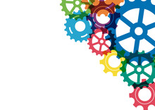 Abstract Creative Colorful Gear Wheel Mechanism Background. Machine Cog Technology. Teamwork Concept. Vector Illustration