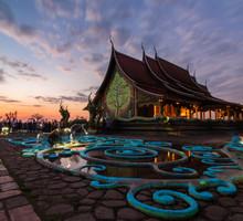 Sirinthorn Wararam Phu Phrao Temple At Sunset In Ubon Ratchathani Thailand