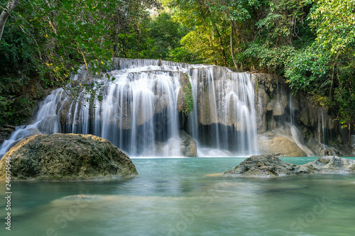 Foto auf Gartenposter Wasserfalle Erawan water fall (Second floor), tropical rainforest at Srinakarin Dam, Kanchanaburi, Thailand.Erawan water fall is beautiful waterfall in Thailand. Unseen Thailand - Image
