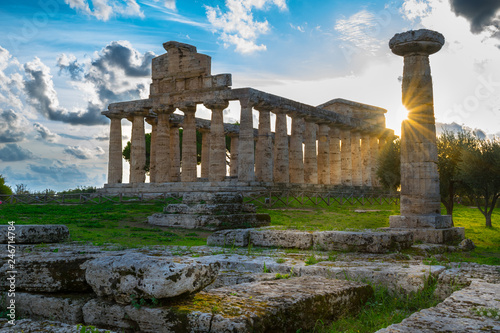 Fotobehang Oude gebouw Temple of Athena or Temple of Ceres in the archaeological site of Paestum - Campania, Italy