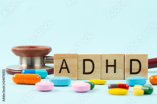 Photo Attention deficit hyperactivity disorder or ADHD concept.