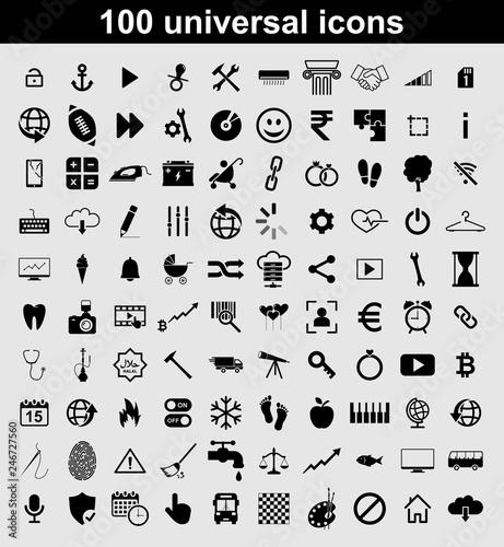 Photo  Set 100 universal vector icons