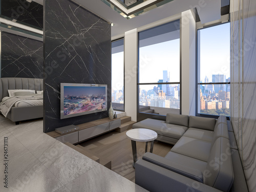 Luxury sunken lounge with cityscape ,3d rendering - Buy this ... on unique small house plans, best small house plans, best 1 story house plans, garage house plans, simple small house plans, 5 bedroom ranch house plans, european house plans, country house plans, small wooden house plans,