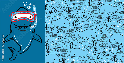 Photo Seamless pattern vector of marine life cartoon with big shark