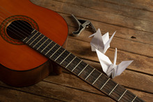 Paper Bird With Guitar And Mus...