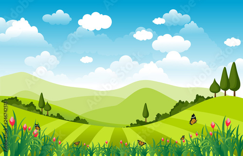 Recess Fitting Lime green Mountains Hills Green Grass Nature Landscape Sky