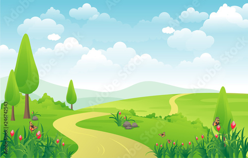 Keuken foto achterwand Lime groen Mountains Hills Green Grass Nature Landscape Sky