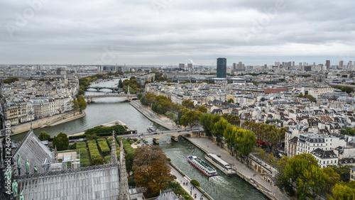 Aluminium Prints Paris Aerial view on River Seine with bridges