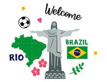 Brazil Landmark. Jesus Statue. Flat Vector Illustration.