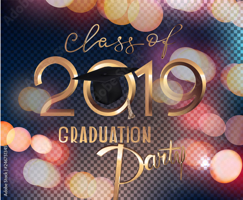 Graduation Party 2019 Invitation Card With Bokeh ...