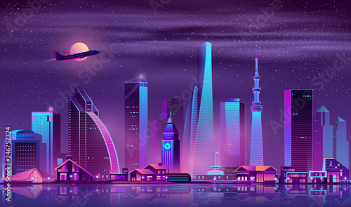 Poster Violet Metropolis night cityscape cartoon vector. Skyscrapers, old town buildings and one-storey cottages on river shore neon colors illustration. Diversity of modern city architecture, real estate property