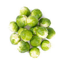 Brussels Sprouts On A White Ba...