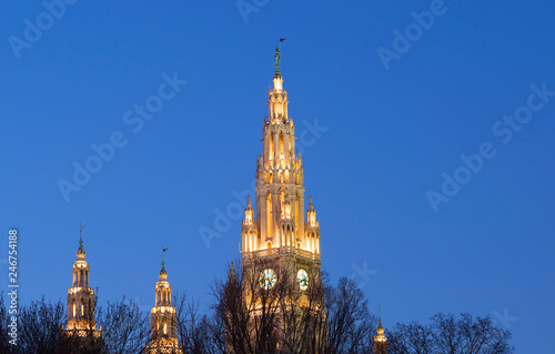 Photo  Vienna, Austria, town hall building in the evening