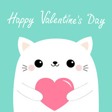 Happy Valentines Day. White Cat Kitten Head Face Holding Pink Paper Heart. Cute Cartoon Kawaii Funny Baby Kitty Animal Character. Love Card. Flat Design. Blue Background. Isolated.