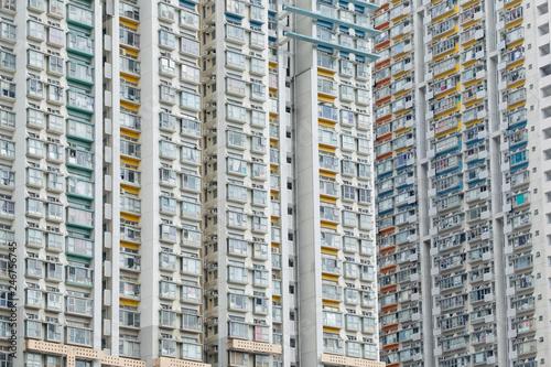 Tuinposter Industrial geb. Residential buildings in Hong Kong