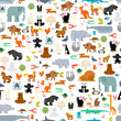 Animals pattern seamless. Zoo background. baby cloth texture Vector