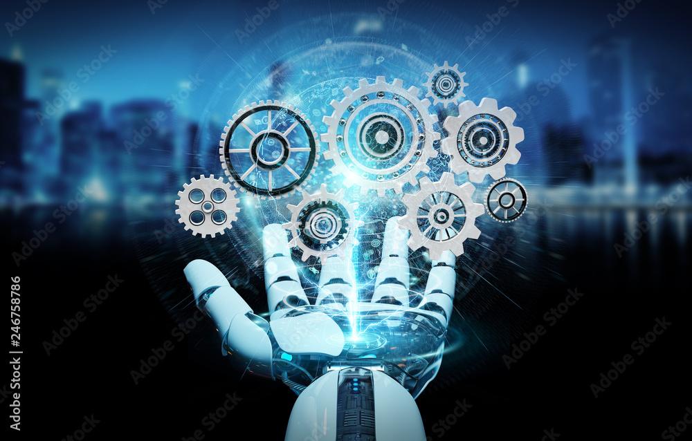 Fototapety, obrazy: White humanoid robot hand using digital gears 3D rendering