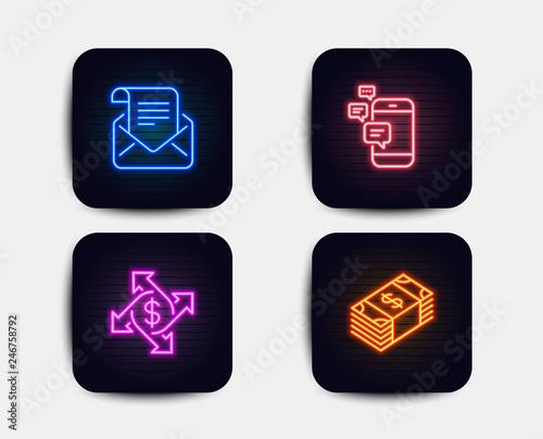 Neon Set Of Payment Exchange