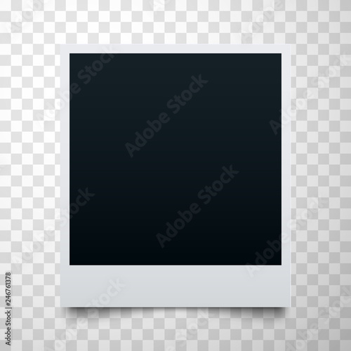 Black Empty Realistic Photo Frame On Transpa Background Polaroid Border Or Instant Template