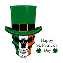 Skull In A Green Hat. Vector I...