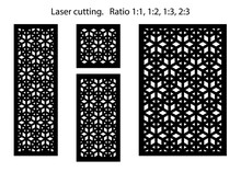 Set Of Decorative Vector Panels For Laser Cutting. Template For Interior Partition In Arabesque Style. Ratio 1:1, 1:2, 1:3, 2:3 - Vector