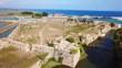 Aerial drone video of iconic landmark medieval Venetian Castle of Agia Mavra or Santa Mavra, Lefkada island town, Ionian, Greece