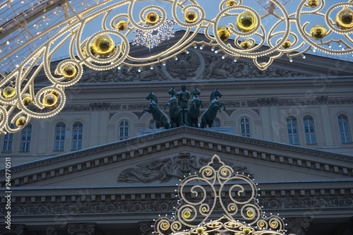 Spoed Foto op Canvas Theater Christmas illumination at the facade of the Bolshoi theatre