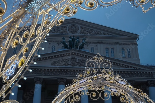 Spoed Foto op Canvas Theater Illumination near the Bolshoi theatre