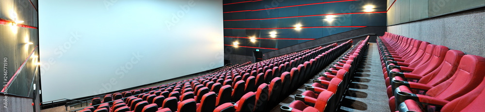 Screen and red velvet seats. Empty cinema. Mock Up. Premiere