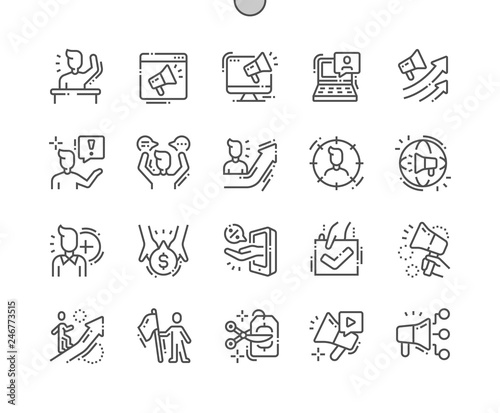 Photo Promotion Well-crafted Pixel Perfect Vector Thin Line Icons 30 2x Grid for Web Graphics and Apps