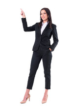 Confident Smiling Successful Business Woman Pointing Finger Up And Looking At Camera. Full Body Isolated On White Background.
