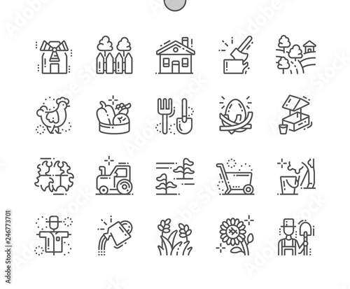 Fotografie, Obraz Village Well-crafted Pixel Perfect Vector Thin Line Icons 30 2x Grid for Web Graphics and Apps