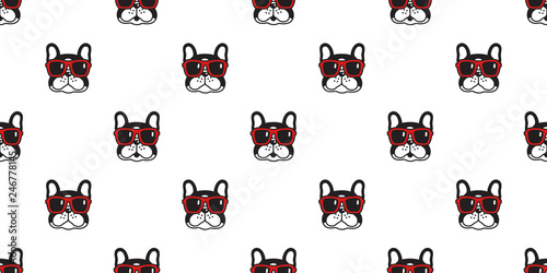 Dog Seamless Pattern French Bulldog Vector Sunglasses Scarf Isolated Repeat Wallpaper Cartoon Tile Background Black Buy This Stock Vector And Explore Similar Vectors At Adobe Stock Adobe Stock