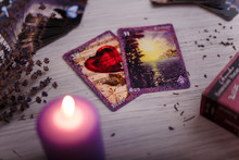 Vintage Divination Cards With Lavender And Burning Candle