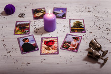 Divination Cards Alignment For Love And Family With Lavender And Candle