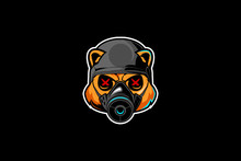 Bear Cartoon Head With Gas Mask And Soldier Helmet Vector