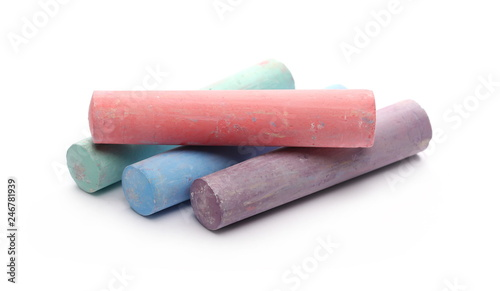 Foto Colorful chalks isolated on white background