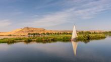 Egyptian Feluka, Small Sailingboat At The Baks Of River Nile