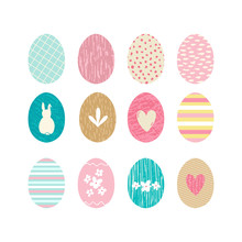Easter Eggs Collection With Ha...