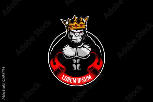 cute gorilla cartoon with a crown vector badge logo template Canvas Print