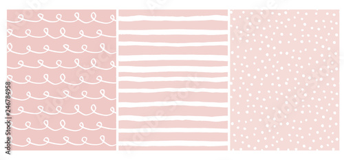Set of 3 Hand Drawn Irregular Geometric Patterns. White Horizontal Stripes, Dots and Waves with Loops on a Light Blue Background. Cute Infantile Style Illustration. Children's Scrawl Like Design.