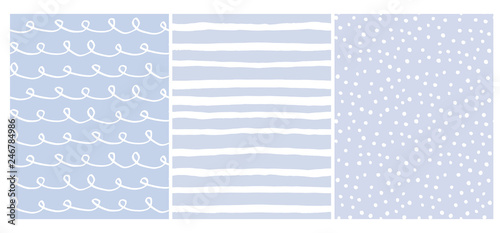 Set of 3 Hand Drawn Irregular Geometric Vector Patterns. White Horizontal Stripes, Dots and Waves with Loops on a Light Blue Background. Cute Infantile Style Illustration. Children's Scrawl.