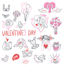 Collection Of Hand Drawn Valentine Day Doodle. Valentine's Day Special Pack Design Elements Sets. Perfect For Invitation Cards And Page Decoration. Vector Illustration.